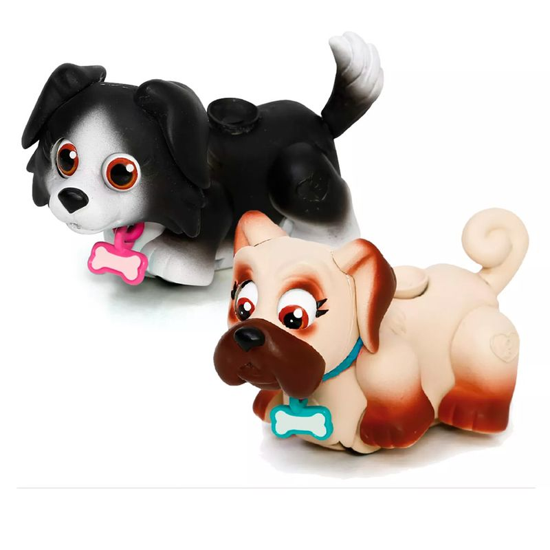 Pet Parade Blister com 2 – Cachorrinho Preto e Bege - Multikids