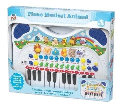 Piano Teclado Musical Eletronico Animais Fazenda Infantil Bebê Azul – Braskit