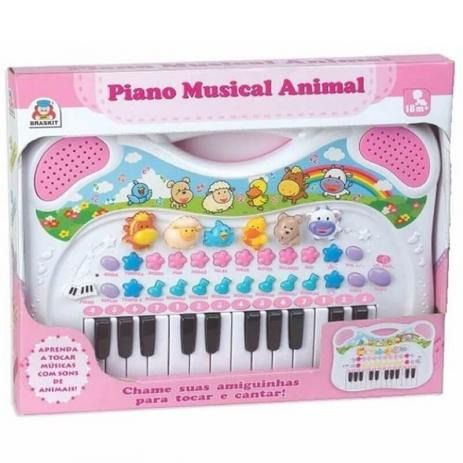 Piano Teclado Musical Eletronico Animais Fazenda Infantil Bebê Rosa – Braskit
