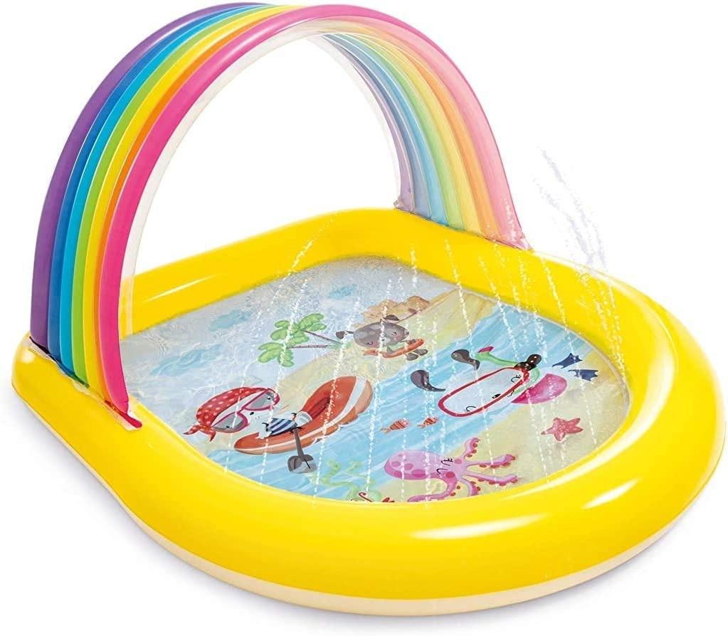Piscina Infantil Com Jatos Arco Iris 84 litros Intex