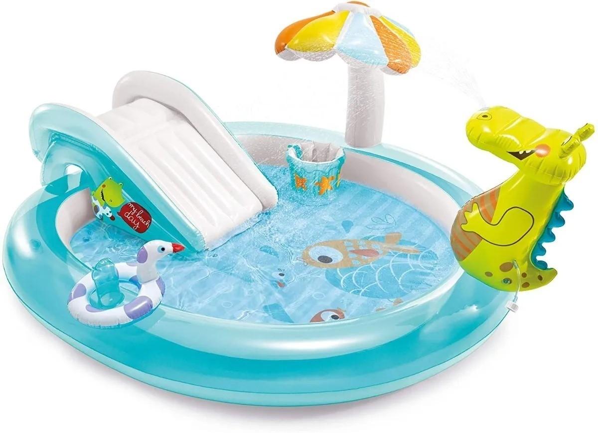 Piscina Infantil Playground Jacaré Esguicha Água Inflável 160 Litros -  Intex