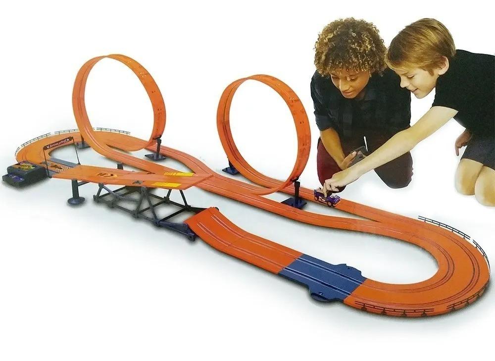 Pista Carrinho Controle Hot Wheels 760cm Track Set Slot Car Zero Gravity - Multikids