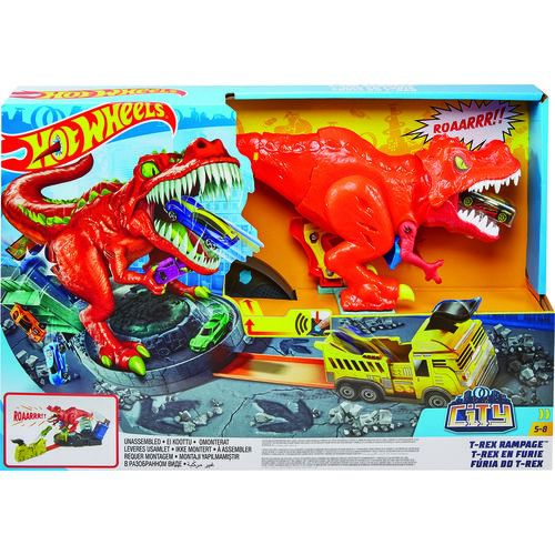 Pista Hot Wheels City T-Rex Demolidor Com Som - Mattel