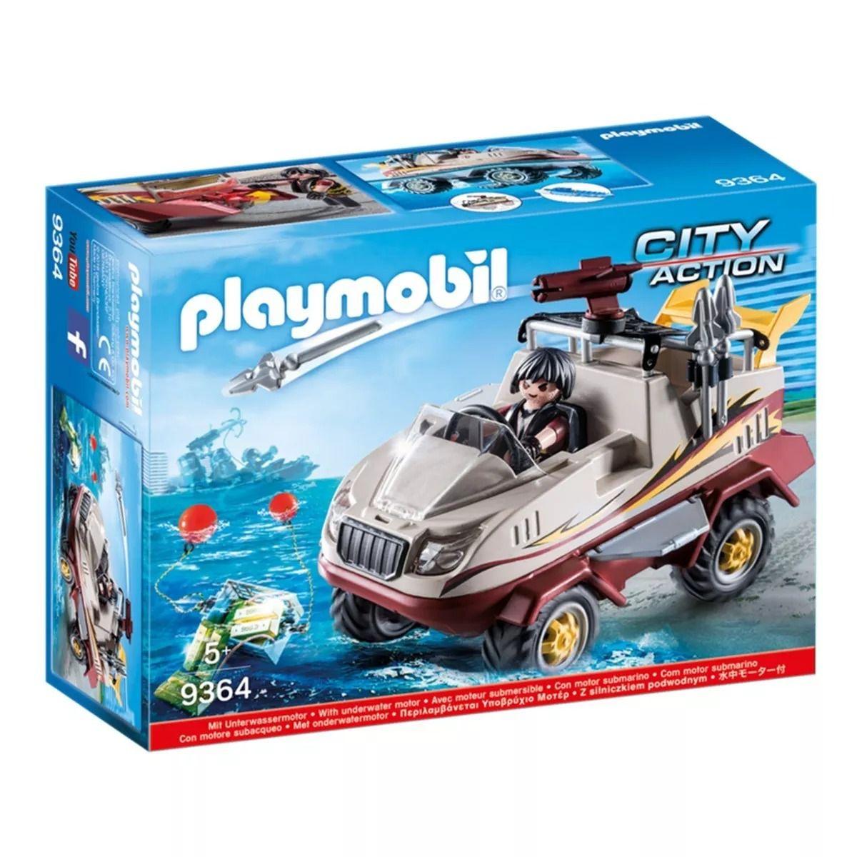 Playmobil City Action Caminhão Anfíbio Flutua e Com Motor Subaquatico - Sunny