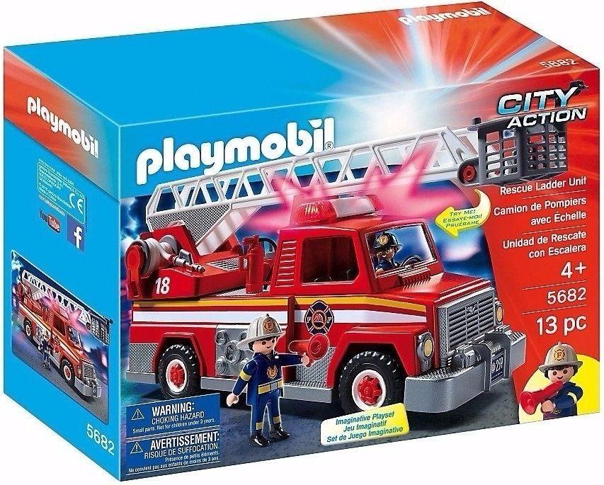 Playmobil City Action Caminhão Bombeiros Com Escada e Luz - Sunny