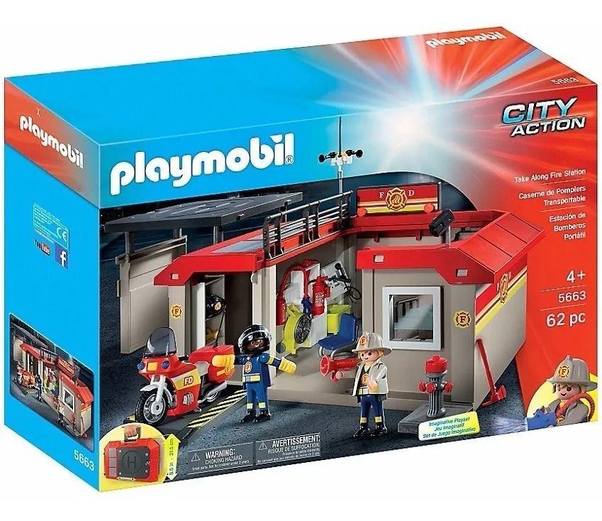 Playmobil City Action Estação Corpo De Bombeiros Maleta Portátil -Sunny