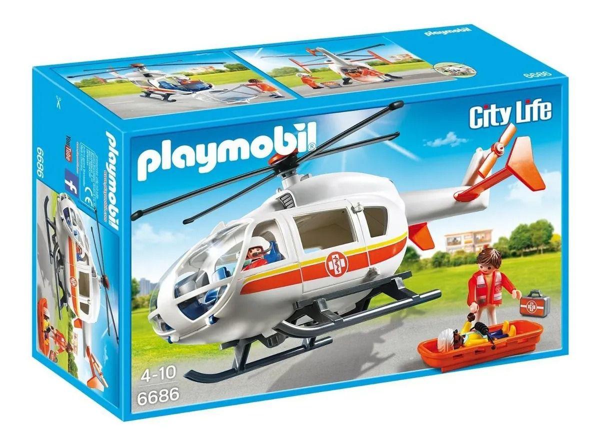 Playmobil Helicóptero De Emergência Médica Hospitalar C/ 3 bonecos Sunny