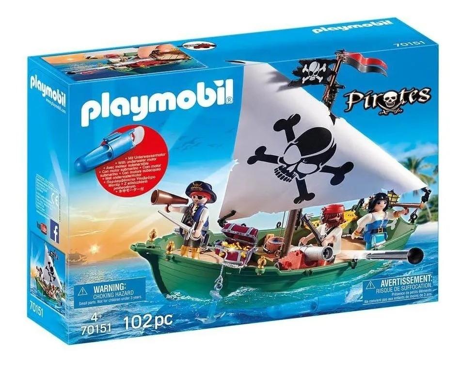 Playmobil Navio Barco Pirata Com Motor Subaquático – 102 peças