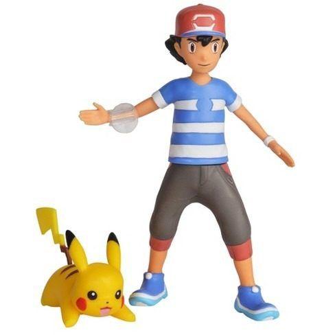 Pokémon Boneco De Batalha Arremessa 11cm Ash E Pikachu DTC