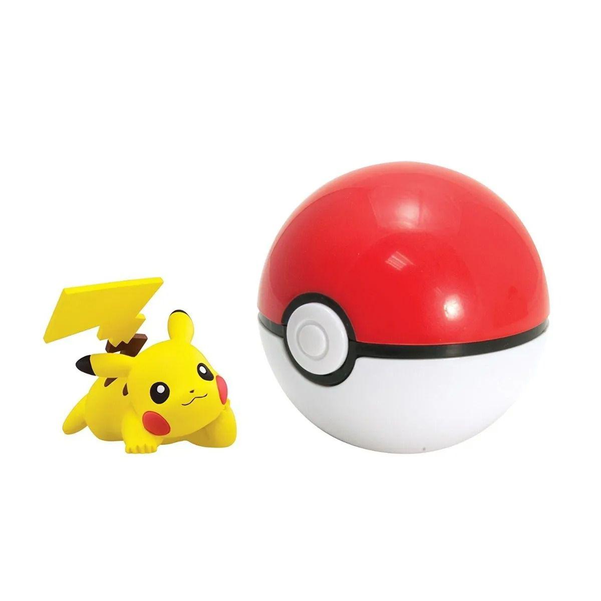 Pokémon – Kit 4 bonecos Pikachu,Machop,Alolan,Carbink e 4 Pokébola Clip Carry - Tomy