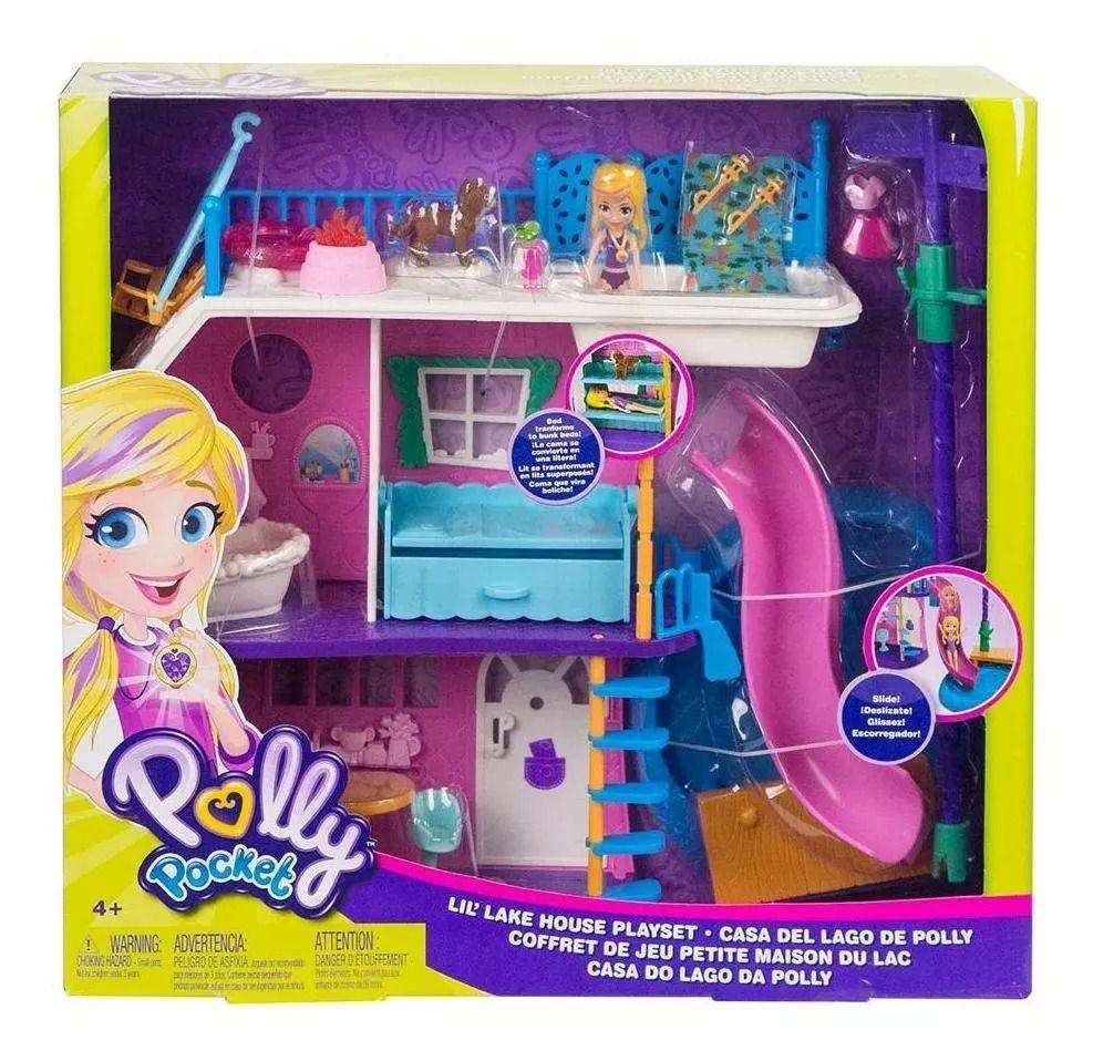 Polly Pocket Casa Do Lago Com Escorregador Da Polly Com Boneca - Mattel