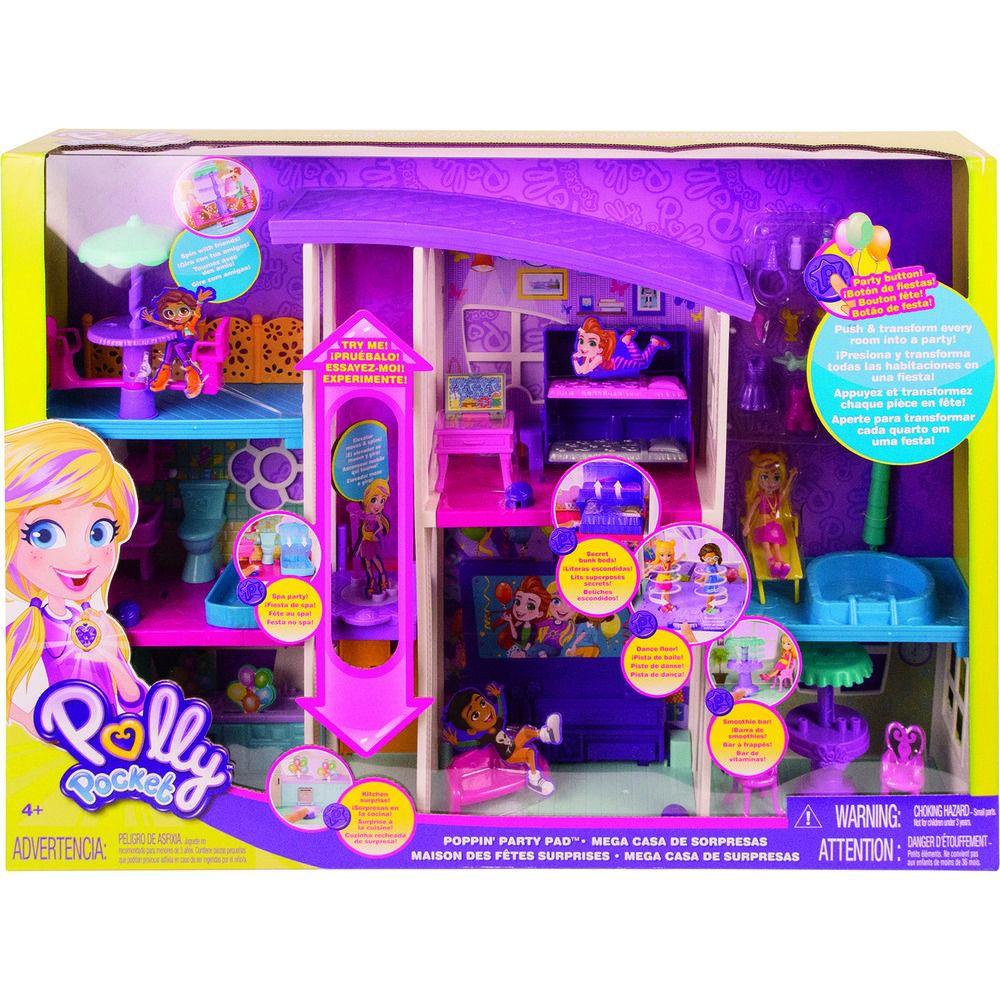 Polly Pocket Mega Casa de Supresas 60 cm Com elevador e boneca - Mattel