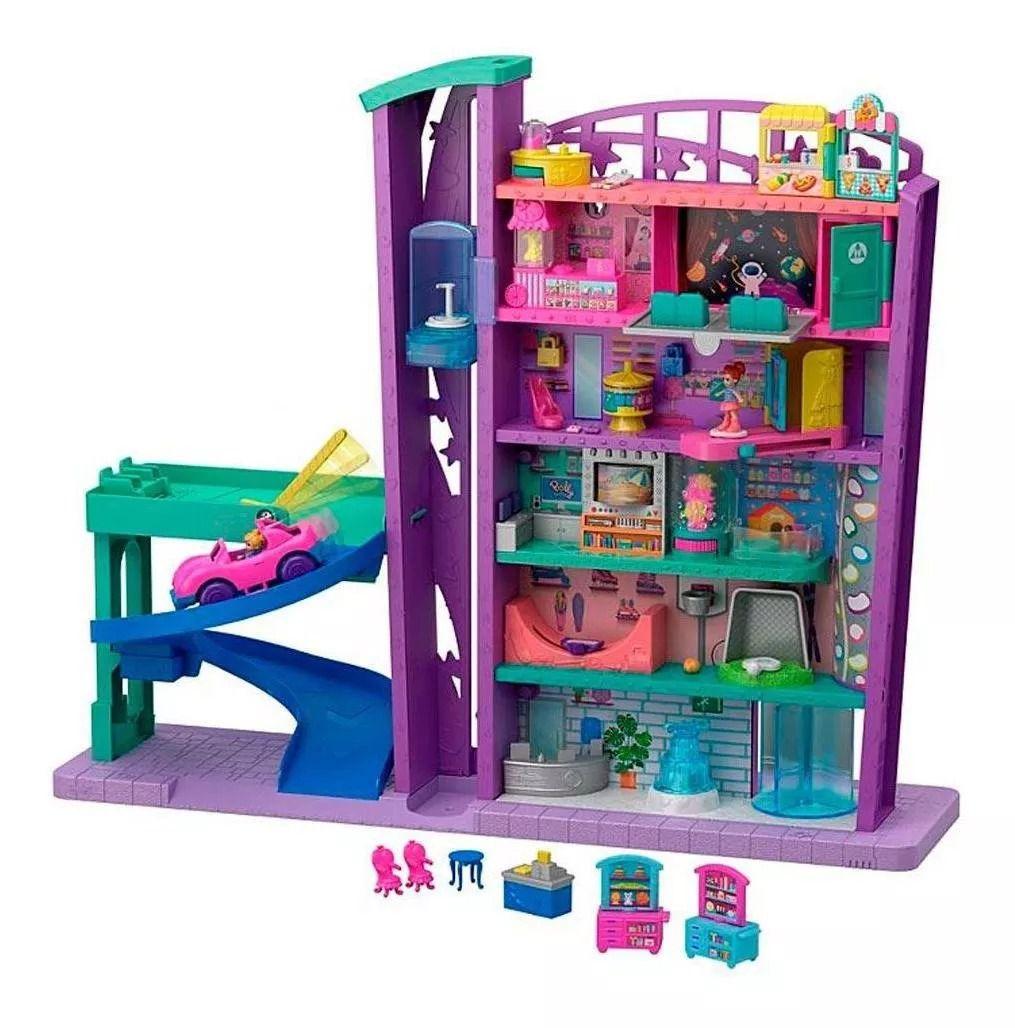 Polly Pocket Mega Centro Comercial 6 andares e 15 Acessorios - Mattel