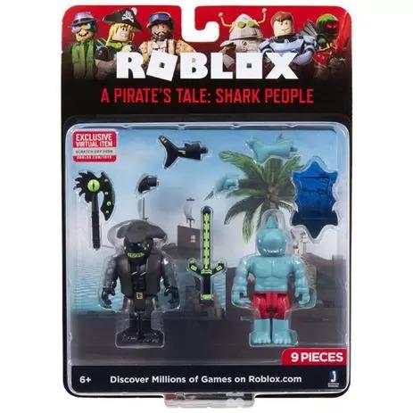 Roblox A Pirate's Tale Shark People  2 bonecos 7 acessorios + codigo virtual - sunny