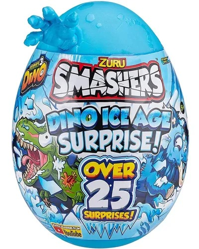 Smashers Ovo Dino Ice Age Grande Surprise  25 Surpresas 30 cm  Azul -  Fun