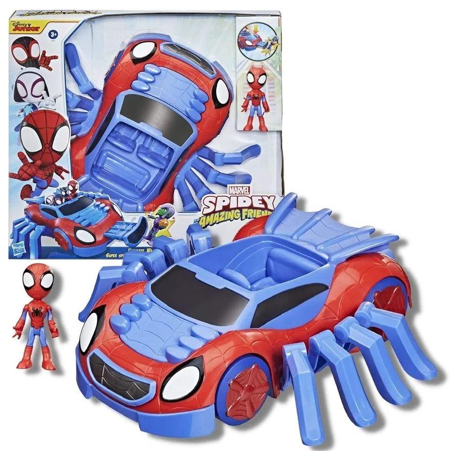 Spider Man Super Carro Aranha 30cm e Boneco Articulado Spidey Amazing Friends -  Hasbro