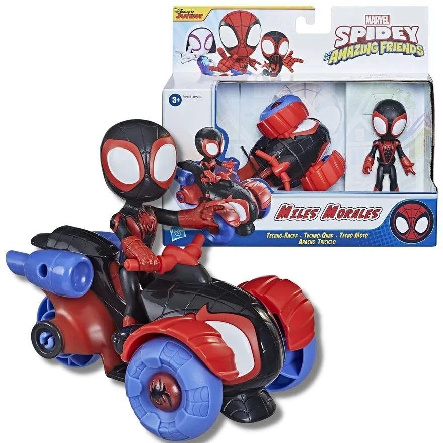 Spider Man Veiculo e Boneco Articulado - Spidey Amazing Friends  Miles Morales -  Hasbro