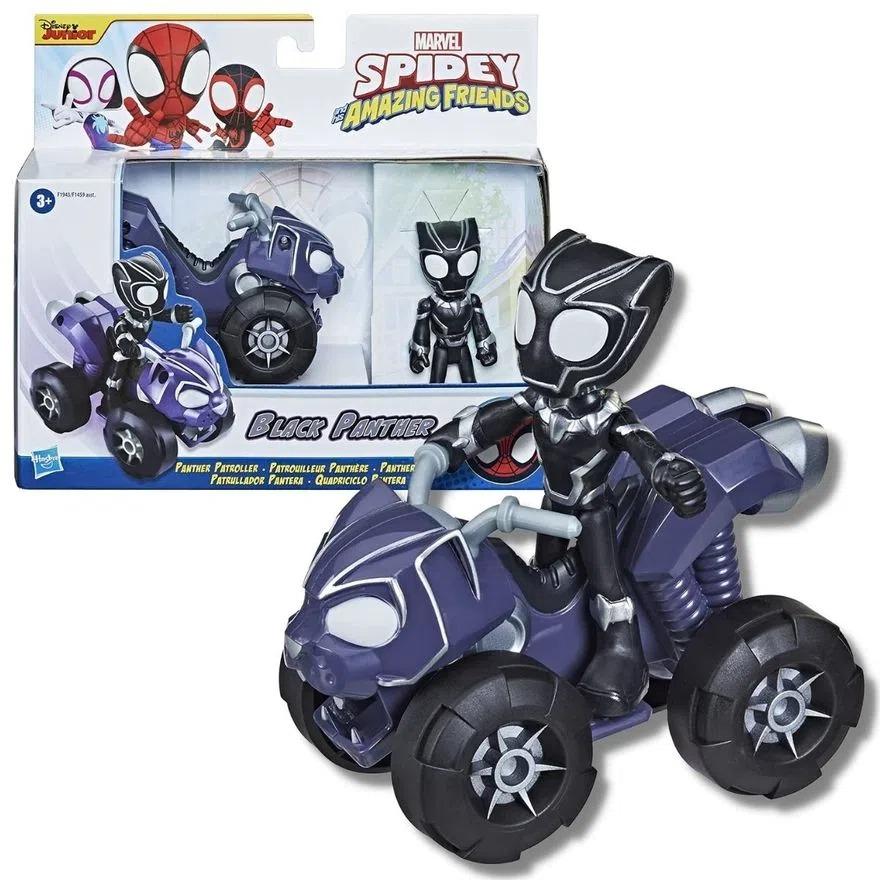 Spider Man Veiculo e Boneco Articulado - Spidey Amazing Friends - Pantera Negra -  Hasbro