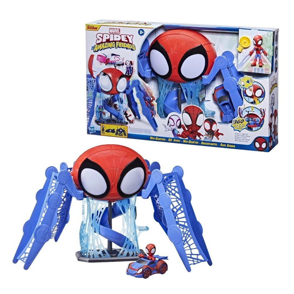 Spidey Amazing Friends  Quartel Base Aranha C/ Som e Luz  C/ Veiculo e Figura SpiderMan - Hasbro