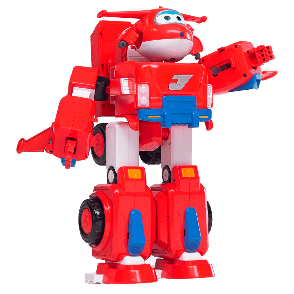 Super Wings Transforms Jett Super Robô 32 cm C/ Som e Luz - Fun