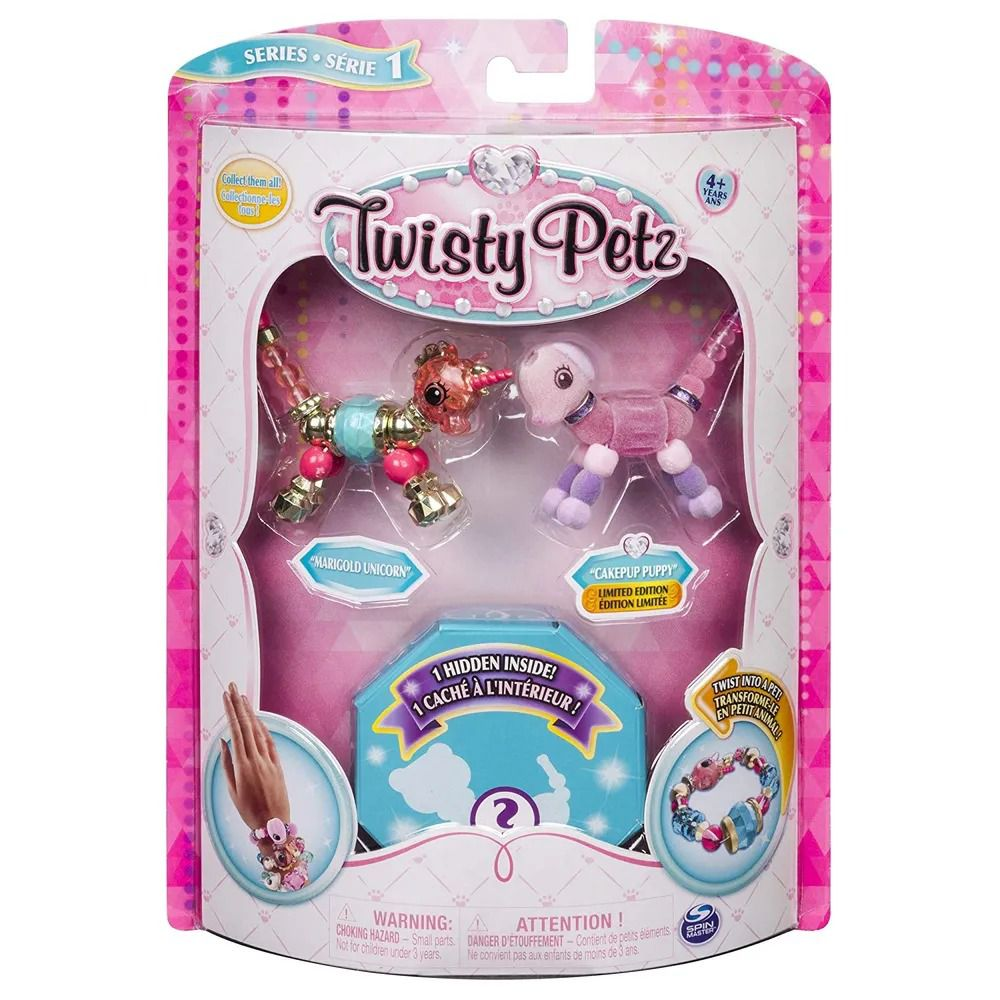 Twisty Petz – Surpresa Rara C/3 - Marigold Unicornio e Cakepup Cachorro - Série 1 – Sunny