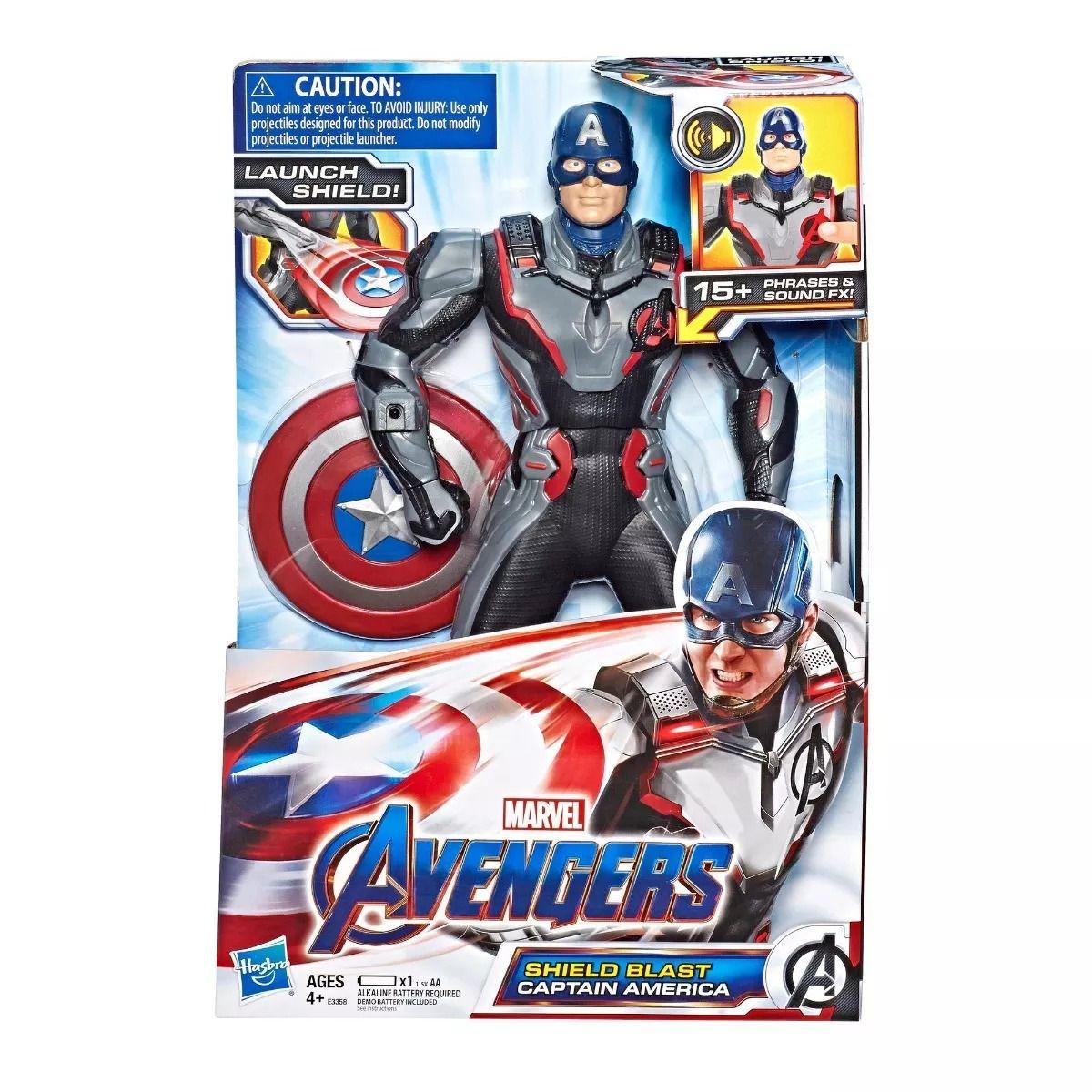 Vingadores Ultimato Capitão América Deluxe 33 cm C/ Som e lança Escudo Hasbro