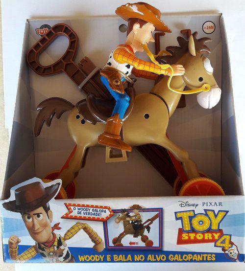 Toy Story 4 Woody e Bala no Alvo Galopante Com Vareta Para Empurrar - Toyng