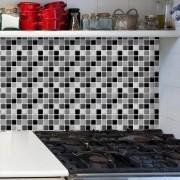 Papel de Parede Auto Adesivo Lavável Pastilha Pa0009 Preta, Branca e cinza