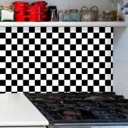 Papel de Parede Auto Adesivo Lavável Pastilha Preta e Branca  Pa0046
