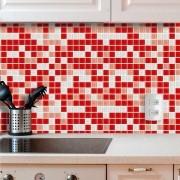Papel de Parede Auto Adesivo Lavável Pastilha Pa0058 Vermelha e Branca