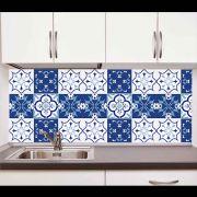 Papel de Parede Auto Adesivo Lavável Azulejo a0020 Azul