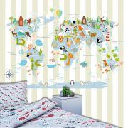 Papel de Parede Adesivo Infantil Mapa Mundi Listras