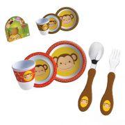 Kit Refeição com Talher Tigela e Copo Macaquinho Macaco Infantil