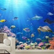 Papel De Parede 3d Oceano Peixes - Papel De Parede Paisagem 1X1