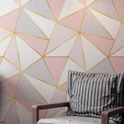 Papel de Parede Adesivo, Geometrico Rose Gold Triangulo Rosa, Cinza, Branco