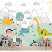 Papel De Parede Adesivo, Infantil Dinossauros Desenhados 1X1