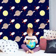 Papel de Parede Adesivo Infantil Espaço Sistema Solar Ki0147