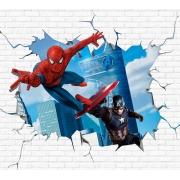 Papel De Parede Adesivo, Infantil Homem Aranha e Capitão América