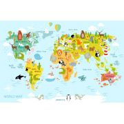 Papel de Parede Adesivo, Infantil Mapa Mundi Bichinhos