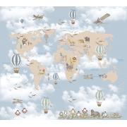 Papel De Parede Adesivo, Infantil Mapa Mundi Bichinhos Balão 1X1