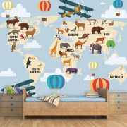 Papel de Parede Adesivo Infantil Mapa Mundi Safari