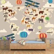 Papel de Parede Adesivo Infantil Mapa Mundi Safari Bege
