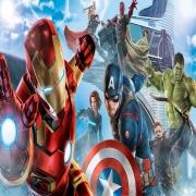 Papel De Parede Adesivo, Infantil Vingadores Marvel Homem de Ferro Voando