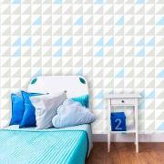 Papel de Parede Adesivo lavável Quadrado Branco, Cinza, Azul G0011