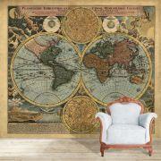 Papel de Parede Adesivo, Mapa Múndi Antigo Signo