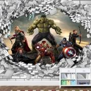 Papel de Parede Adesivo Vingadores Marvel 3D Buraco Parede 1X1