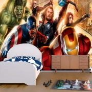 Papel De Parede Adesivo Vingadores Marvel Amarelado