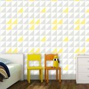 Papel de Parede Auto Adesivo Geométrico G0009 Quadrados Cinza, Branco Amarelo