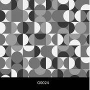 Papel de Parede Auto Adesivo Geométrico G0024 Círculos preto e branco