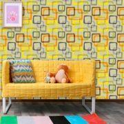Papel de Parede Auto Adesivo Lavável Abstrato ab0011 Quadrados Coloridos Retrô